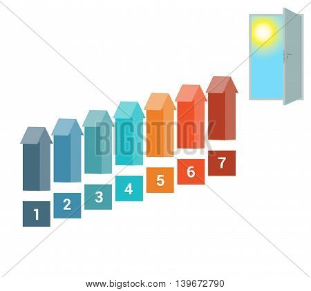 Template for Infografics seven Number Options Arrows in the form of Ladder Upwards Doorway Sky Sun.