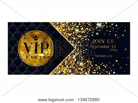 VIP party premium invitation card poster flyer. Black and golden design template. Glow glitter dust decorative background.
