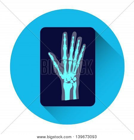 Hand X-ray Medicine Icon Flat Vector Illustration