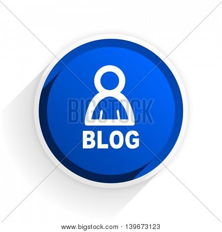 blog flat icon with shadow on white background, blue modern design web element