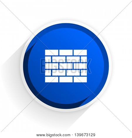 firewall flat icon with shadow on white background, blue modern design web element