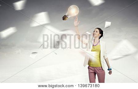 She has bright idea  . Mixed media