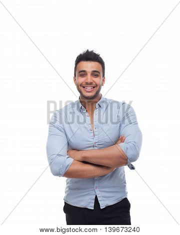 Handsome business man happy smile, businessman folded hands, wear blue shirt isolated over white background