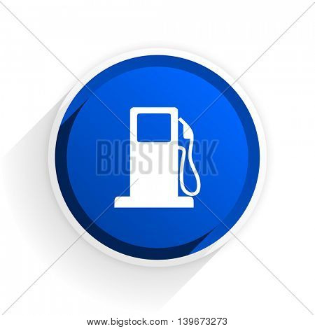 petrol flat icon with shadow on white background, blue modern design web element