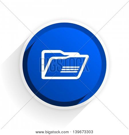folder flat icon with shadow on white background, blue modern design web element