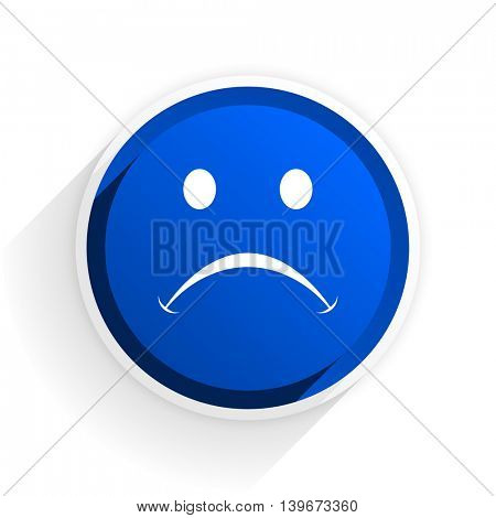 cry flat icon with shadow on white background, blue modern design web element