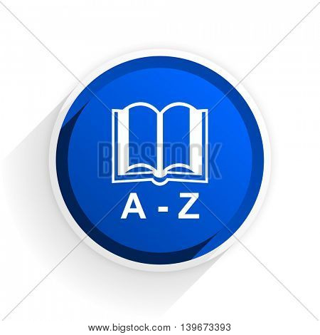 dictionary flat icon with shadow on white background, blue modern design web element
