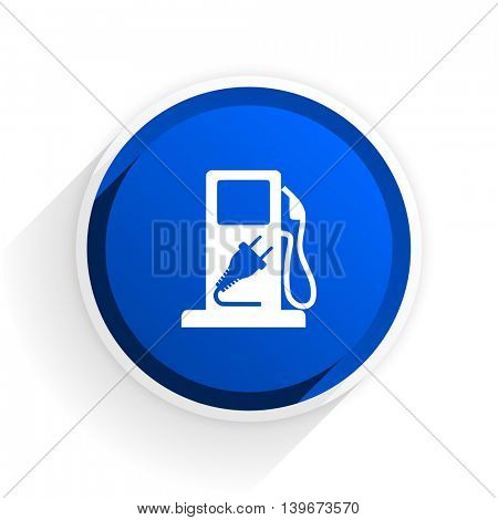 fuel flat icon with shadow on white background, blue modern design web element