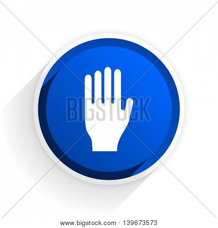 stop flat icon with shadow on white background, blue modern design web element