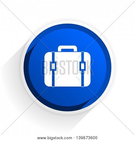 bag flat icon with shadow on white background, blue modern design web element