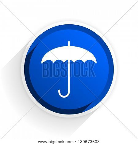 umbrella flat icon with shadow on white background, blue modern design web element