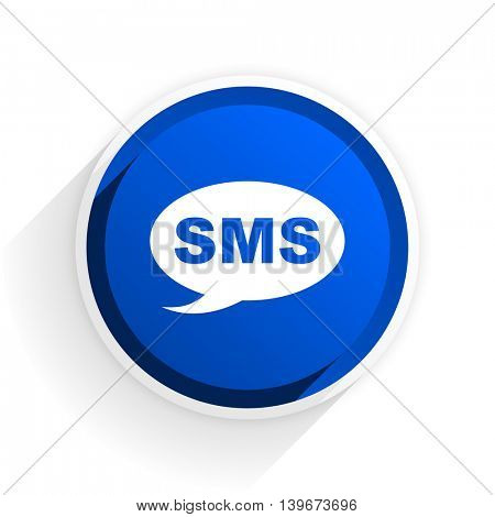 sms flat icon with shadow on white background, blue modern design web element