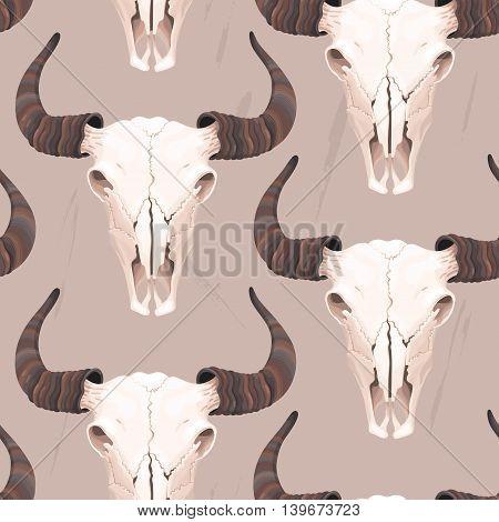 High detailed buffalo skull vector seamless background