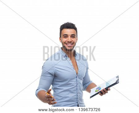 Handsome business man happy smile, businessman holding folder pencil document, wear blue shirt isolated over white background