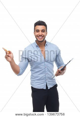 Handsome business man happy smile, businessman holding folder pencil document, point finger to copy space wear blue shirt isolated over white background