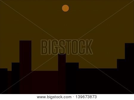 illustration which depicts the moon over the city