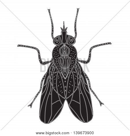 Fly insect silhouette. Fly sketch a tattoo. Doodle style. Modern design. Vector illustration