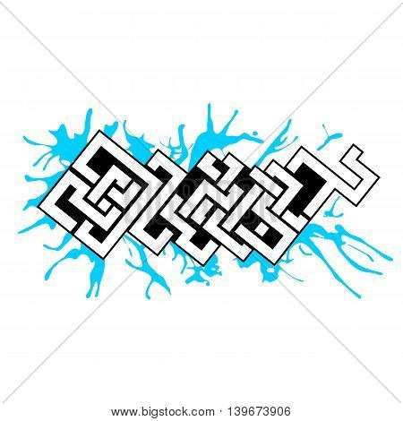 Graffiti vector art urban design element in celtic style with blue paint blots