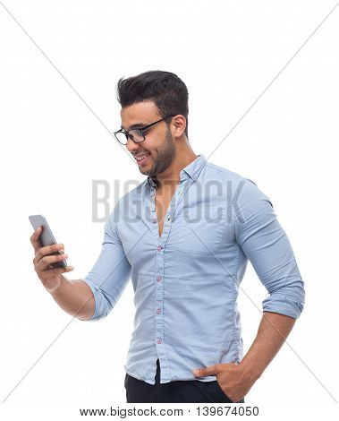 Handsome business man, businessman using cell smart phone wear glasses blue shirt isolated over white background