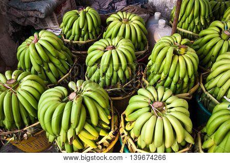 Fresh Bananas At The Morning Market In Bangkok