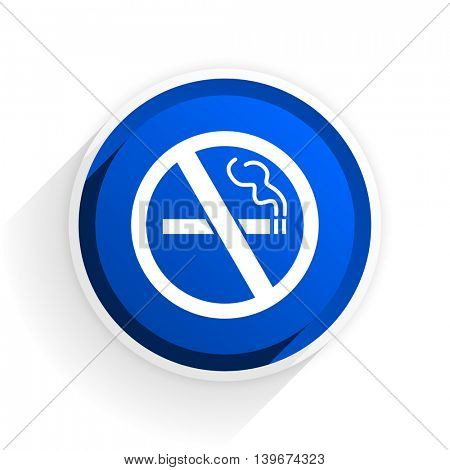 no smoking flat icon with shadow on white background, blue modern design web element