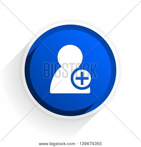 add contact flat icon with shadow on white background, blue modern design web element