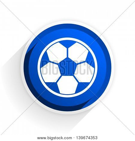 soccer flat icon with shadow on white background, blue modern design web element
