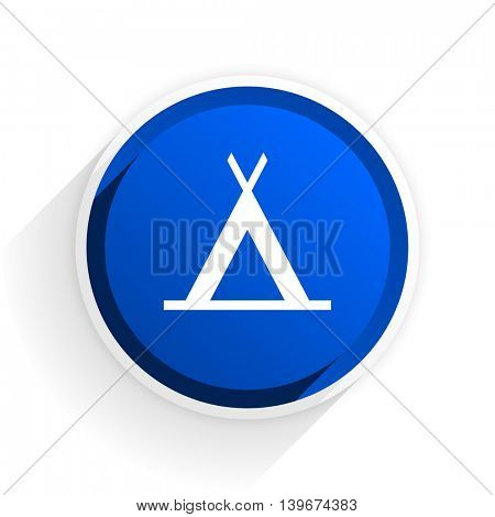 camp flat icon with shadow on white background, blue modern design web element