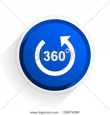 panorama flat icon with shadow on white background, blue modern design web element