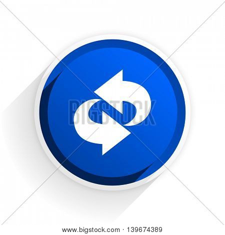rotation flat icon with shadow on white background, blue modern design web element
