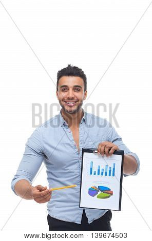 Handsome businessman holding clipboard, folder with papers, financial business plan report wear blue shirt isolated over white background