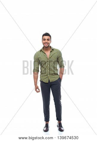 Casual business man happy smile young handsome guy full length wear shirt isolated white background