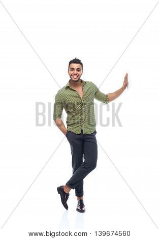Casual business man happy smile young handsome guy hand on wall full length wear shirt isolated white background