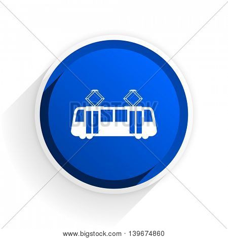 tram flat icon with shadow on white background, blue modern design web element