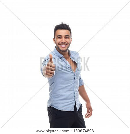 Handsome business man hold thumb up happy smile, businessman wear blue shirt isolated over white background
