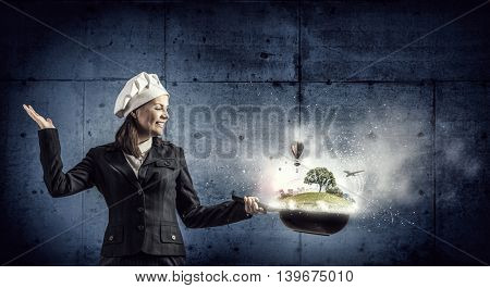 She is going to cook her idea  . Mixed media