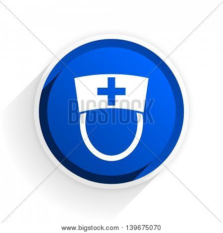 nurse flat icon with shadow on white background, blue modern design web element