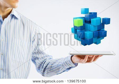 New technology integration concept  . Mixed media