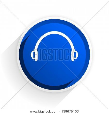 headphones flat icon with shadow on white background, blue modern design web element