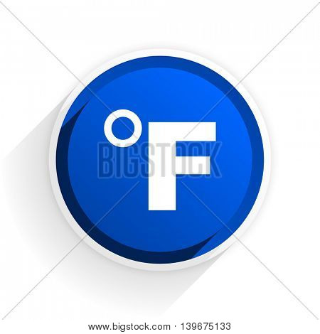 fahrenheit flat icon with shadow on white background, blue modern design web element