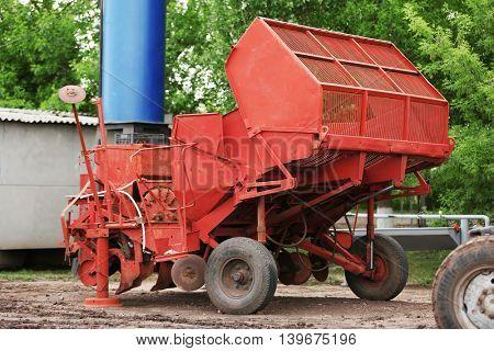 Harvester on the farmland