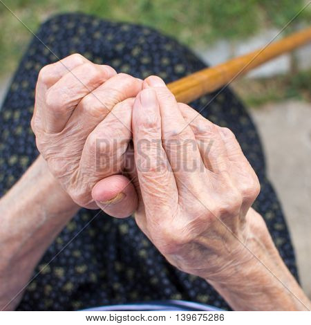 Old Woman Hands Holding A Walking Cane