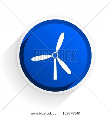 windmill flat icon with shadow on white background, blue modern design web element