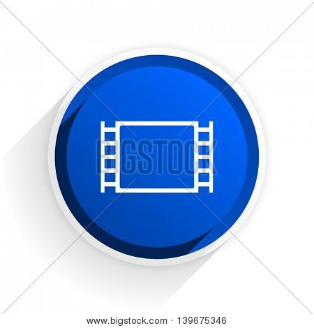 movie flat icon with shadow on white background, blue modern design web element