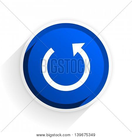rotate flat icon with shadow on white background, blue modern design web element