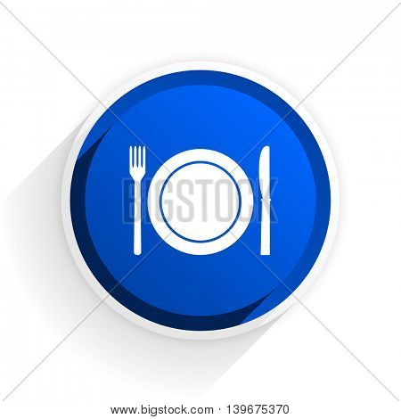 restaurant flat icon with shadow on white background, blue modern design web element