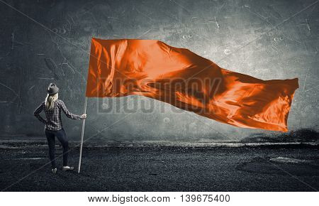 Student girl waving flag  . Mixed media