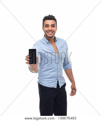 Handsome business man displaying mobile cell smart phone happy smile, businessman wear blue shirt isolated over white background