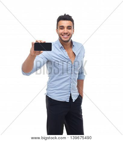 Handsome business man displaying mobile cell smart phone take photo happy smile, businessman wear blue shirt isolated over white background