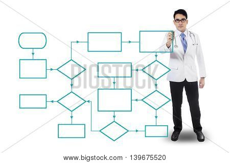 Portrait of a male doctor drawing empty flowcharts isolated on white background